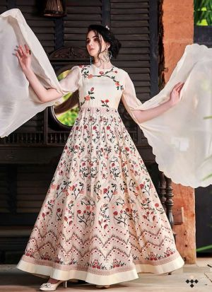 Light Peach Anarkali Style Flared Kurti