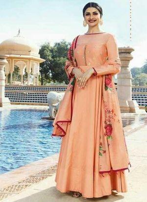 Light Peach Jenny Silk Indian Designer Salwar Suit