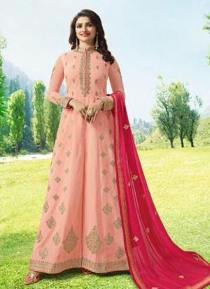 Light Peach Satin Eid Collection Salwar Suit