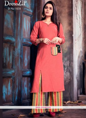 Light Red Ruby Cotton Plain Heavy Designer kurti