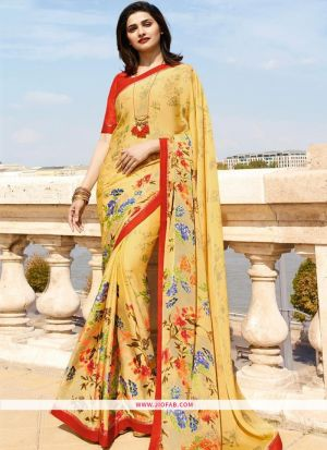 Light Yellow Printed Chiffon Saree With Fancy Border