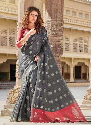 Linen Cotton Grey Indian Wear Saree