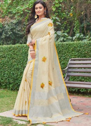 Linen Cotton Light Cream South Indian Saree