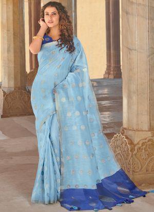 Linen Cotton Light Sky Blue South Indian Saree