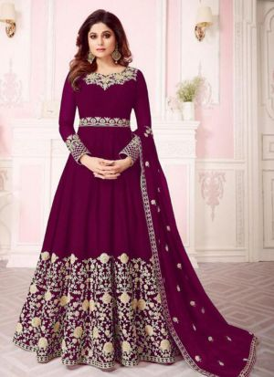 Magenta Georgette Designer Shamita Shetty Floor Length Salwar Suit
