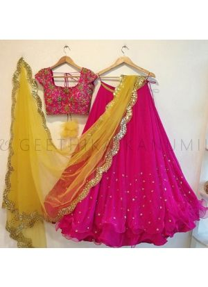 Magenta Pink Georgette Bamberg New Launch Party Wear Lehenga Choli