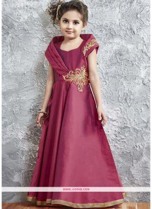 Magenta Taffeta Silk New Designer Kids Wear Gown