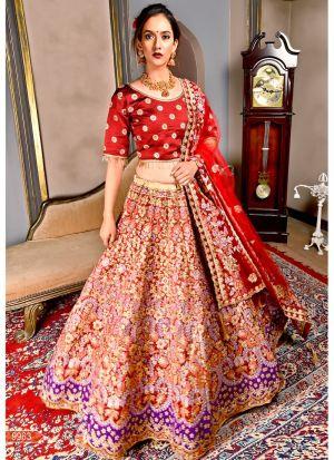 Maroon 9000 Silk Designer Bridal Lehenga Choli
