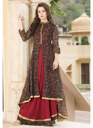 Maroon And Coffee Anarkali Style Flared Kurti