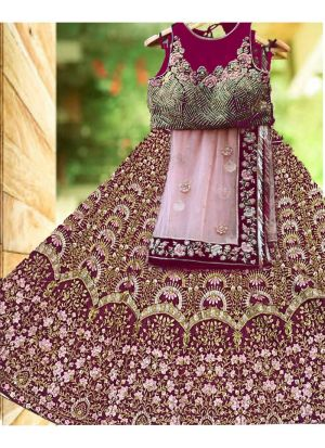 Maroon Banglori Satin Silk Royal Looks Bridal Lehenga Choli With Mono Net Dupatta