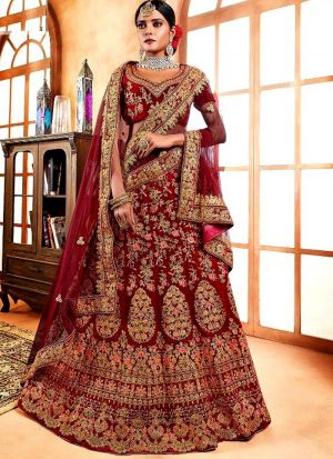 Maroon Color Designer Exclusive Bridal Lehenga Choli In Velvet Fabric