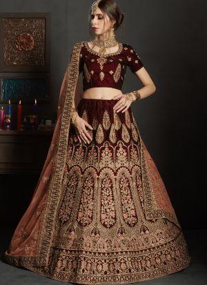 Maroon Color Pure Velvet Gulkhand Vol 1 Bridal Lehenga Choli