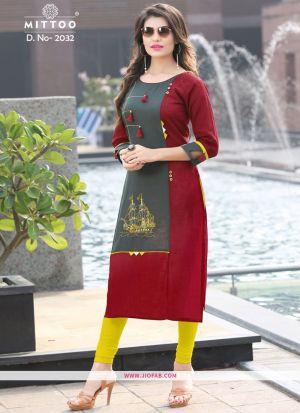 Maroon Color Rayon Printed Heavy Designer kurti
