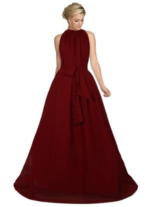 Maroon Color Women And Girls Sleevless Western Gown