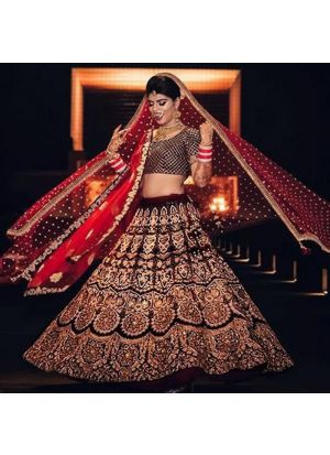 Maroon Designer Wedding Wear Makhmal Silk Lehenga Collection