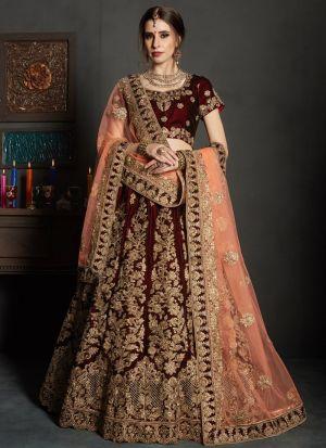 Maroon Embroidered Gulkhand Vol 1 Bridal Lehenga Choli