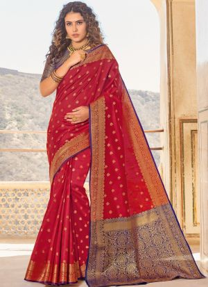 Maroon Handloom Silk Indian Traditional Saree