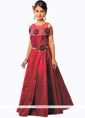 Maroon Indian Evening Partywear Gown For Kids Girl