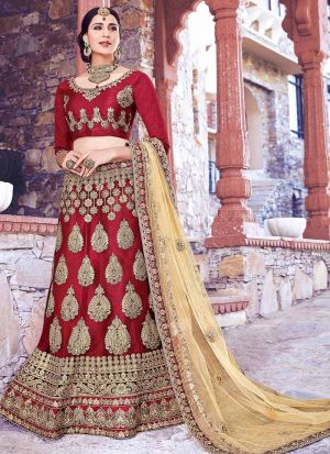 Maroon Net Traditional Lehenga Choli