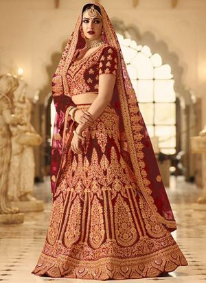 Maroon Phantom Silk Indian Wedding Lehenga Choli With Mono Net Dupatta