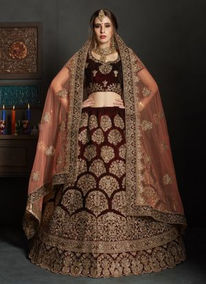 Maroon Pure Velvet Gulkhand Vol 1 Bridal Lehenga Choli For Engagement Party
