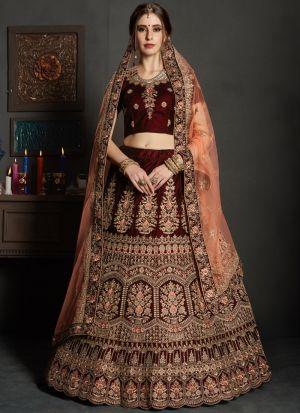 Maroon Pure Velvet Gulkhand Vol 1 Bridal Lehenga Choli For Mehndi Function