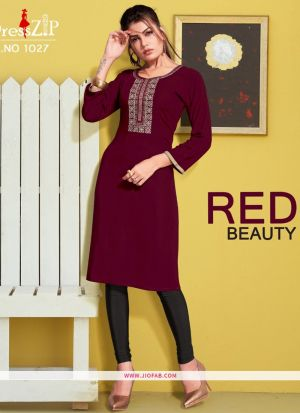 Maroon Rayon Embroidered Heavy Designer kurti