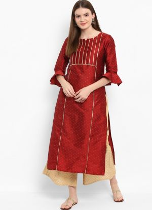 Maroon Silk Blend Designer Kurti For Girls