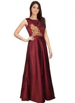Maroon Solid Long Maxi Dress