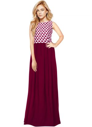 Maroon Women And Girls Sleevless Western Gown