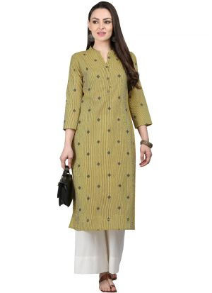 Mehandi Cotton Designer Kurti For Women