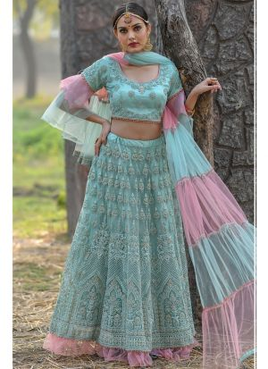 Mint Butterfly Net Party Wear Lehenga Choli