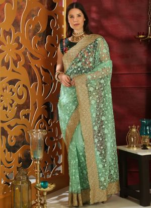 Mint Green Embroidered Organza Designer Saree For Teej Festival