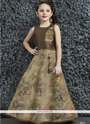 Mocha Brown Color Baby Girl Party Wear Lehenga Choli