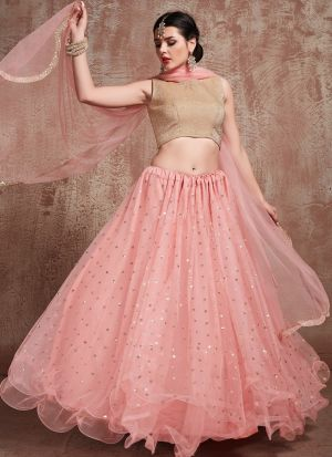 Most Demanded Baby Pink Color Designer Lehenga Choli In Soft Net Fabric