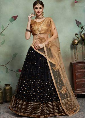 Most Demanded Black Designer Lehenga Choli In Soft Net Fabric