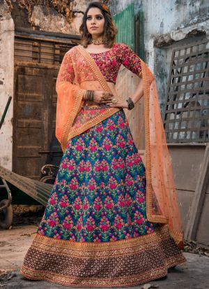 Most Demanded Blue Mulberry Silk Lehenga Choli With Net Dupatta