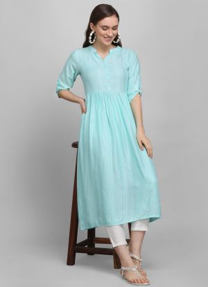 Most Demanded Frock Style Sky Blue Heavy Rayon 3-4 Sleeves Kurti