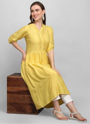 Most Demanded Frock Style Yellow Heavy Rayon 3-4 Sleeves Kurti