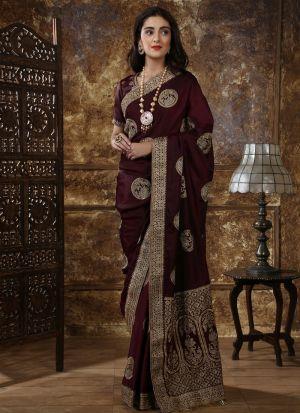 Most Demanded Maroon Designer Saree In Silk Fabric