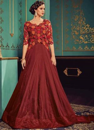 Most Demanded Maroon Gown Style Anarkali Suit For Party