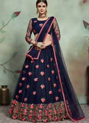 Most Demanded Navy Designer Lehenga Choli In Soft Net Fabric