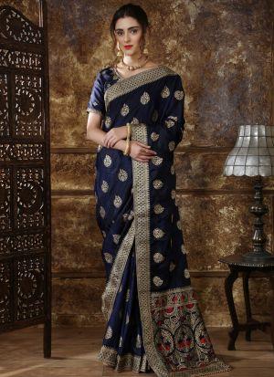Most Demanded Navy Designer Saree In Silk Fabric