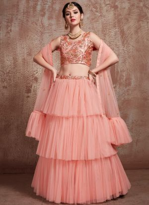 Most Demanded Peach Designer Ruffle Lehenga Choli In Soft Net Fabric