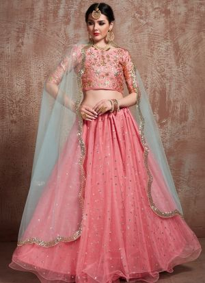 Most Demanded Pink Designer Lehenga Choli In Soft Net Fabric
