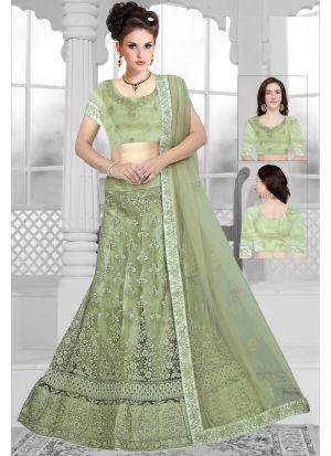 Most Demanded Pista Net Designer Lehenga Choli Collection