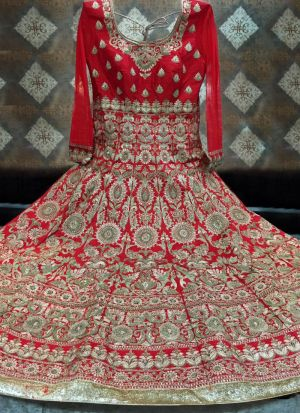 Most Demanded Red Bridal Banglori Silk Embroidered Lehenga Choli With Mono Net Dupatta