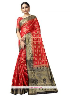Most Demanded Red Naylon Weaving Saree