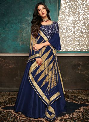 Most Demanded Royal Blue Gown Style Anarkali Suit For Ceremony