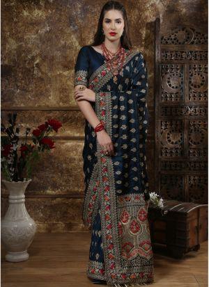 Most Demanded Teal Blue Designer Saree In Silk Fabric